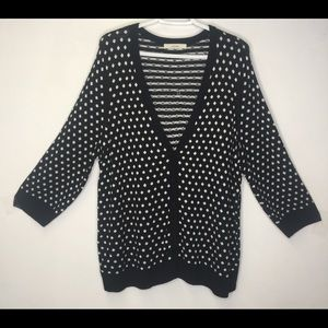 Sejour black and white button up cardigan sweater